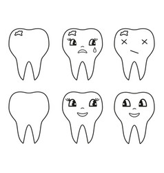 teeth set icons vector image