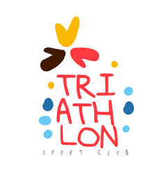 Triathlon sport club logo colorful hand drawn vector