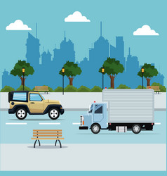Vehicles street city with park background vector