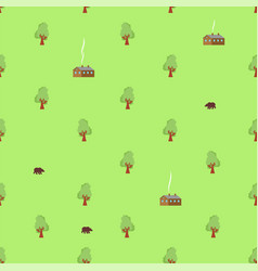 village pattern seamless shed in woods forest vector image