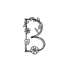 Vintage floral bold letter b logo spring classic vector