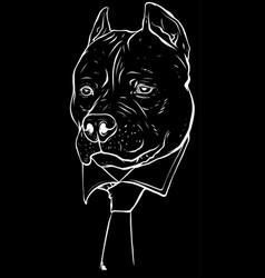 White silhouette pitbull head with necktie vector