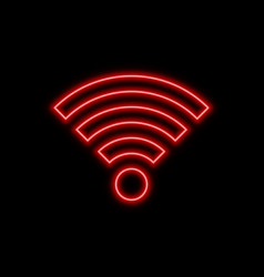 Wi-fi offline bad signal neon sign bright glowing vector