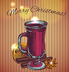 with a glass of mulled wine cinnamon sticks snowf vector image