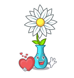 With heart modern plant in a glass vase cartoon vector