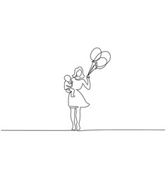 woman hold her baby with air balloons vector image