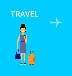 Woman traveller with bag young asian female travel vector