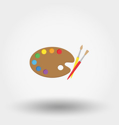 Wooden art palette with paints and brushes vector