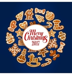 Merry Christmas 2017 of gingerbread cookies vector image
