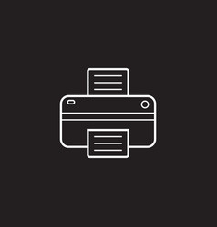printer line icon outline logo vector image