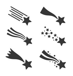 shooting stars or comet icons set vector image