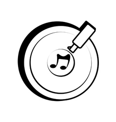 Vinyl disc record music outline vector