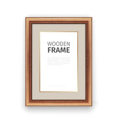 Wooden Rectangle Frame with Gold vector image
