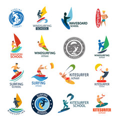 kite surfing windserfing water sport club logo vector image vector image
