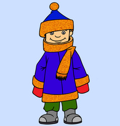 little boy wearing winter clothes vector image