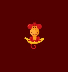 Monkey sitting on a banana vector image vector image