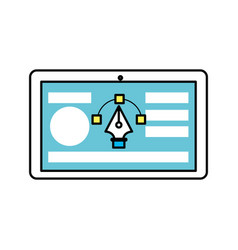 Tablet with business website and arrow cursor vector