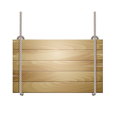 wooden board sign hanging on a rope vector image vector image