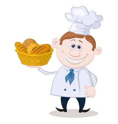 Baker with a basket of bread vector image vector image