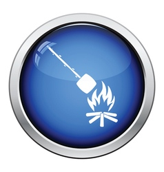Camping fire with roasting marshmallo icon vector image
