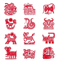 Chinese horoscope signs vector image vector image