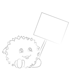 cute cartoon monster looking at poster coloring vector image