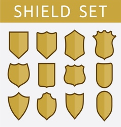 Gold shield set vector image