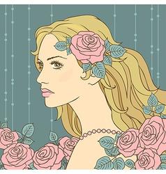 hair girl rose vector image