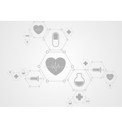 Health grey tech background and medical icons vector image vector image