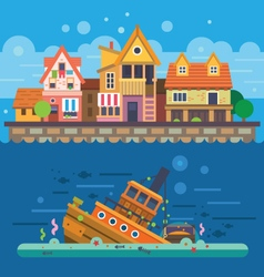 Houses by the sea vector image vector image