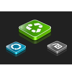 3d recycle icon set vector image