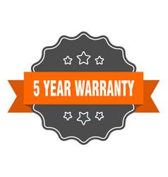 5 year warranty isolated seal 5 year warranty vector
