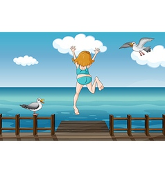 A jumping girl in a water vector