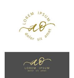 a o initials monogram logo design dry brush vector image