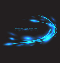 abstract blue line curve light on black vector image