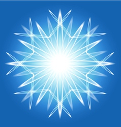 Abstract snowflake over blue vector image