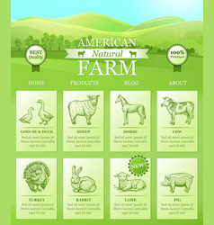 american farm landing for website with bright vector image