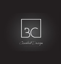 bc square frame letter logo design with black and vector image