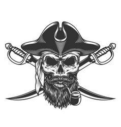 Bearded and mustached pirate skull vector