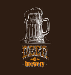 beer mug filled with beer vintage vector image