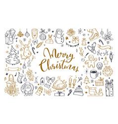 big set christmas design doodle elements 2 vector image