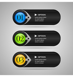 Black colorful options banners or buttons vector image