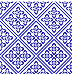 blue and white flower seamless pattern vector image