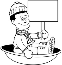cartoon african american boy sitting in a sled vector image