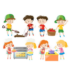 Children cooking and doing things in garden vector