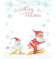 Christmas cartoon card with skiing Santa vector image