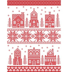 Christmas Nordic style village vector image