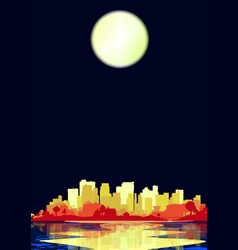 city under a pale moon vector image