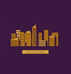 City with golden buildings vector