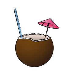 Coconut cocktail drink icon vector